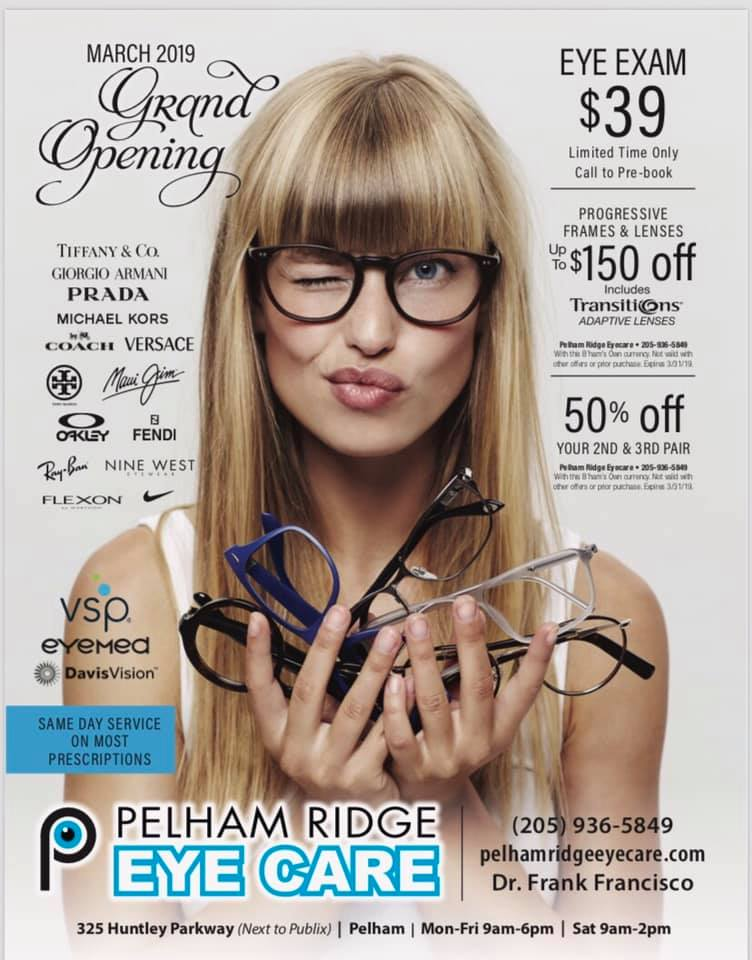 pelham ridge eye exam specials grand opening pelham, al